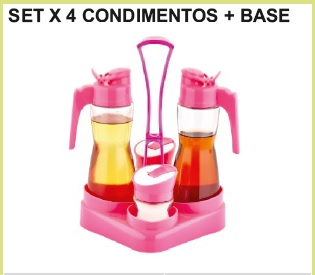 Set x 4 condimentos c/ base