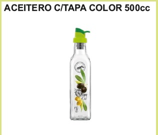 Aceitero c/tapa color 500 cc.