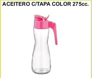 Aceitero c/tapa color 275 cc.