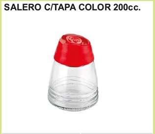 Salero c/tapa color 200 cc.