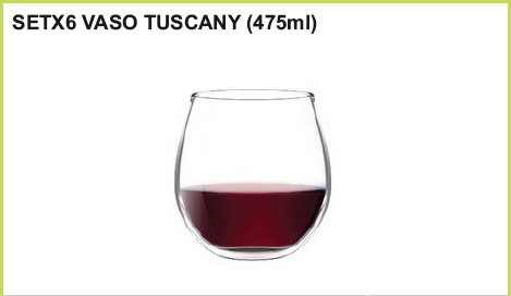 Set x 6 vaso tuskany (475 ml)