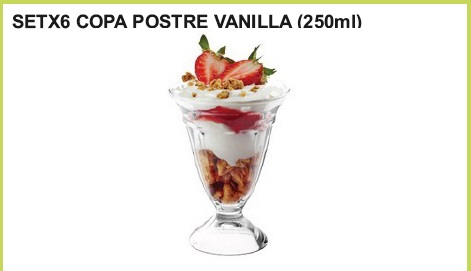 Set x 6 copa postre (250 ml.)