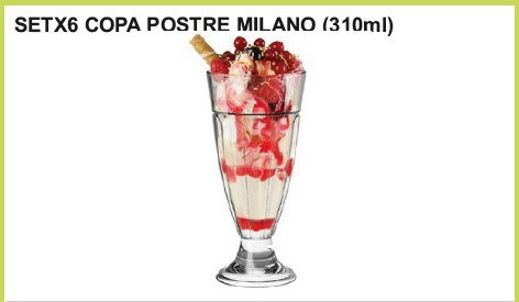 Set x 6 copa postre milano (310 ml.)