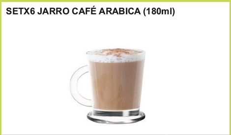 Set x 6 jarro cafe arabica (180 ml.)