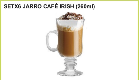 Set x 6 jarro cafe irish (260 ml.)