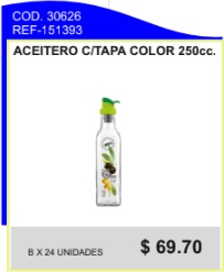 Aceitero c/tapa color 250 cc.