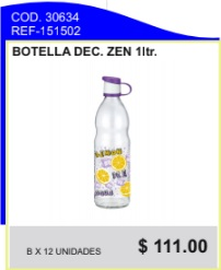 Botella decorada zen 1 ltrs.